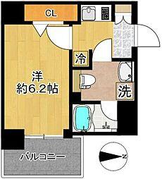 東急東横線 新丸子駅 徒歩5分の賃貸マンション 7階1Kの間取り