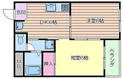 サウス・アベニュー 4階2DKの間取り