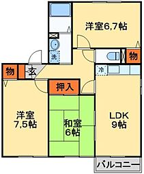 つくばエクスプレス 柏の葉キャンパス駅 徒歩21分の賃貸アパート 1階3DKの間取り