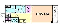 阪神なんば線 千鳥橋駅 徒歩5分の賃貸マンション 3階1Kの間取り