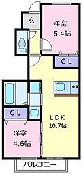 ラ・フェリーチェ 1階2LDKの間取り
