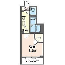 ノクタンブル 3階1Kの間取り