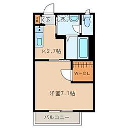 アンソレイエ 2階1Kの間取り