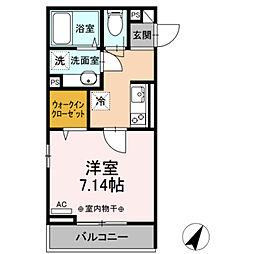 小田急江ノ島線 相模大野駅 徒歩11分の賃貸アパート 2階1Kの間取り