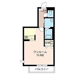 日成ハイツIII 3階ワンルームの間取り