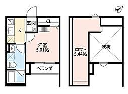 南海線 湊駅 徒歩20分の賃貸アパート 1階1Kの間取り