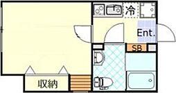 ルノンフォレスト羽田 2階1Kの間取り
