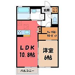 (仮)D-room野木町友沼 B 1階1LDKの間取り