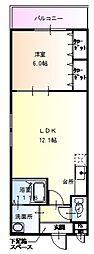 JR阪和線 百舌鳥駅 徒歩10分の賃貸アパート 1階1LDKの間取り