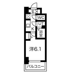 スプランディッド天王寺DUE 13階1Kの間取り