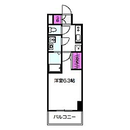 エスリード大阪城クローグ 4階1Kの間取り
