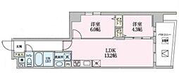 Luce 3階2LDKの間取り