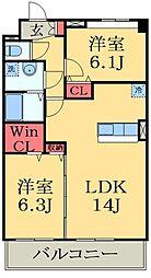 千葉県市原市更級2丁目の賃貸マンションの間取り