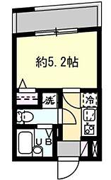 JR山手線 恵比寿駅 徒歩10分の賃貸マンション 2階1Kの間取り