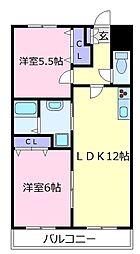 オープ松原[1階]の間取り