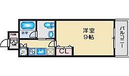 ハイムタケダT-10 4階ワンルームの間取り