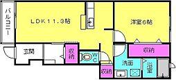 コンソラーレD[1階]の間取り