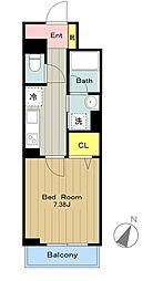 JR南武線 中野島駅 徒歩10分の賃貸マンション 1階1Kの間取り