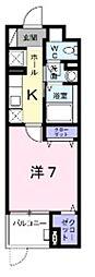 ルピナス3 3階1Kの間取り