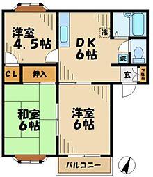 東京都多摩市落合2丁目の賃貸アパートの間取り