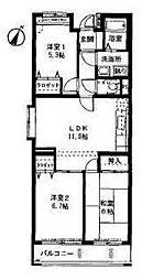 神奈川県横浜市緑区北八朔町の賃貸マンションの間取り