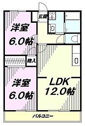 東京都八王子市大楽寺町の賃貸マンションの間取り