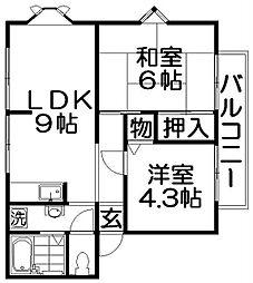 大阪府寝屋川市太間町の賃貸アパートの間取り