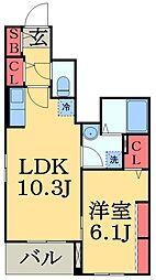 JR外房線 大網駅 徒歩4分の賃貸アパート 1階1LDKの間取り