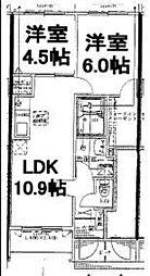 福岡県久留米市北野町十郎丸の賃貸アパートの間取り