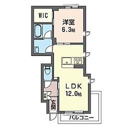 (仮)海老名市大谷南シャーメゾン 1階1LDKの間取り