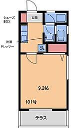 リバティハイツ片江[101号室]の間取り
