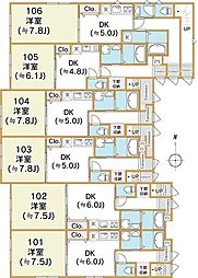 西武新宿線 武蔵関駅 徒歩20分の賃貸アパート 1階1DKの間取り