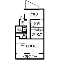 福岡市地下鉄空港線 西新駅 徒歩5分の賃貸マンション 4階2LDKの間取り