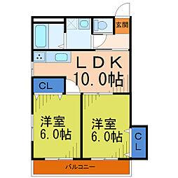 埼玉県草加市松江3丁目の賃貸マンションの間取り