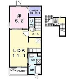 愛知環状鉄道 永覚駅 3.7kmの賃貸アパート 2階1LDKの間取り