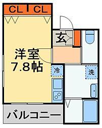 JR外房線 本千葉駅 徒歩8分の賃貸アパート 2階ワンルームの間取り