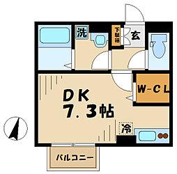 JR相模線 海老名駅 徒歩13分の賃貸アパート 1階ワンルームの間取り