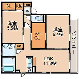 滋賀県大津市本堅田4丁目の賃貸アパートの間取り