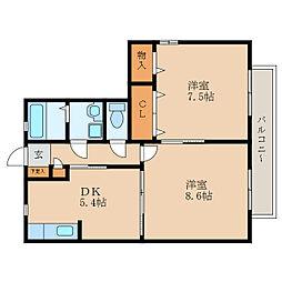 シャーメゾンジョイア[2階]の間取り