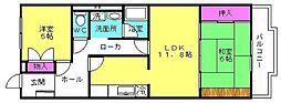 兵庫県高砂市神爪1丁目の賃貸マンションの間取り