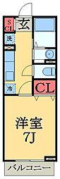 千葉県市原市五井中央西1丁目の賃貸アパートの間取り