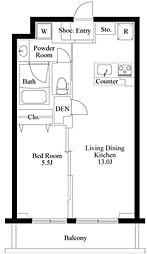 東急東横線 都立大学駅 徒歩8分の賃貸マンション 3階1LDKの間取り