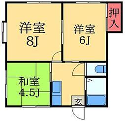 千葉県佐倉市表町2丁目の賃貸アパートの間取り