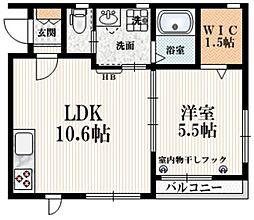 京王線 幡ヶ谷駅 徒歩6分の賃貸マンション 2階1LDKの間取り