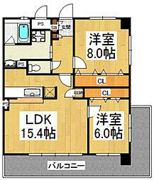 ホエブス箱崎[3階]の間取り
