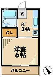 東京都多摩市聖ヶ丘1丁目の賃貸アパートの間取り