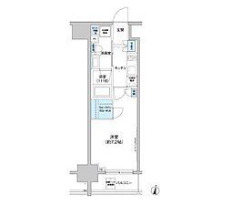 パークキューブ西新宿(旧クレヴィアリグゼ西新宿) 9階1Kの間取り