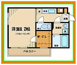 京王線 分倍河原駅 徒歩3分の賃貸マンション 3階1Kの間取り