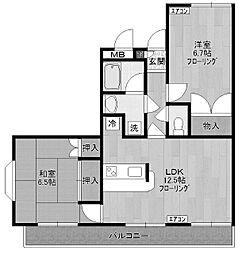 ガーデンビィラ弐番館[1階]の間取り