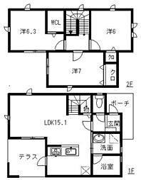 [タウンハウス] 福岡県福岡市南区塩原4丁目 の賃貸【/】の間取り